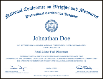 Professional certification certificate