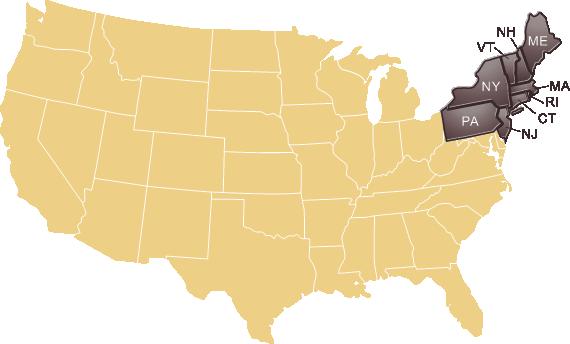 Northeaster region states map