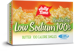 Jolly Time Healthy Pop Butter Low Sodium Microwave Popcorn. 100 calorie snack size low salt popcorn endorsed by Weight Watchers thumbnail