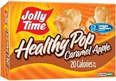 Jolly Time Healthy Pop Caramel Apple Microwave Popcorn. 94% fat free, low calorie sweet popcorn endorsed by Weight Watchers thumbnail