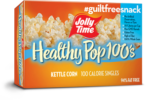 Jolly Time Healthy Pop Kettle Corn Microwave Popcorn Mini Bags. 94% fat free, 100 calorie popcorn endorsed by Weight Watchers.