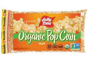Jolly Time Organic Yellow Popcorn Kernels. USDA certified organic, non-GMO popcorn. Whole grain, high in fiber and gluten free.