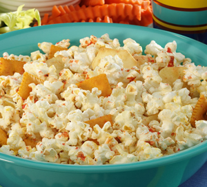 Zesty Buffalo Wing Popcorn Snack Mix