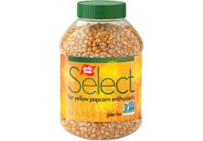 Jolly Time Select Yellow Popcorn Kernels. A jar of premium gourmet stovetop popping corn. Non-GMO and Gluten Free.