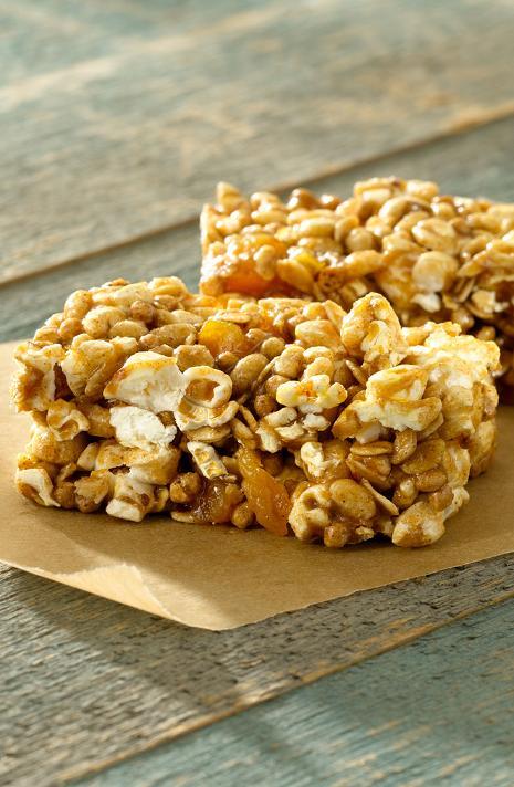 Almond Caramel Popcorn Power Bars