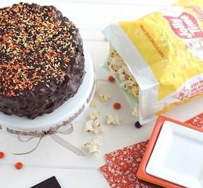 Chocolate Peanut Butter Popcorn Cake