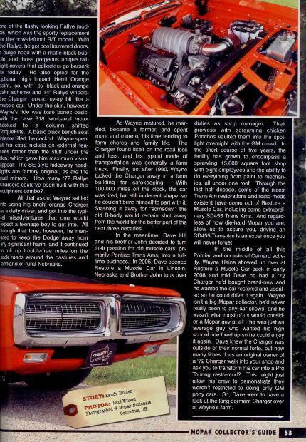 Mopar Collector's Guide 1972 Charger Rallye Restored Muscle Car Custom Hemi Swap